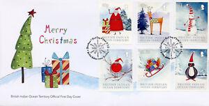 BIOT Brit Indian Ocean Terr 2018 FDC Christmas Trees Santa Robin 6v Cover Stamps
