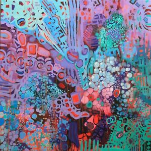Intuitive abstract painting red,blk,blue contemporary by artist Joy Campbell