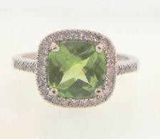 Beautiful Green Peridot & Genuine Diamond Solid 14K White Gold Cocktail Ring