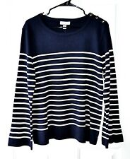 Charter Club XL Striped Sweater Navy Blue and White Long Sleeve Flared Sleeve