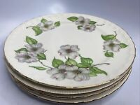 """Lot Of 4 Vintage Pope Gosser China Dogwood Dinner Plates Made In USA 10"""""""