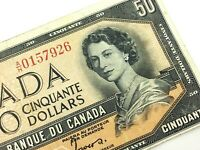 1954 Canada 50 Fifty Dollar Circulated AH Devil Face Coyne Towers Banknote R183