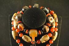 Jade-Anhänger Halskette u. Armband aus Achat mit Augen Himmelsperlen Unikat TZ98