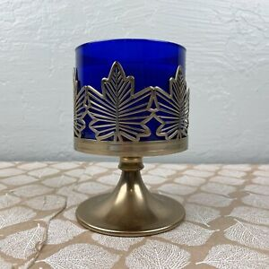 Bath Body Works Golden Metal Candle Holder Fall Maple Leaves Pedestal 3-Wick
