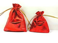 Christmas Organza Gift Bag Red/Silver Cloth Pouch Shabby Chic Look Drawstring