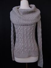 The Limited Wool, Angora Cowl Neck Cable Knit Sweater Taupe XS X-Small #2324
