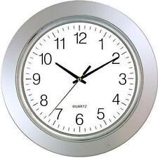 "Sima TimeKeeper 13"" Silver Rim Battery Operated Wall Clock Quartz Movement"