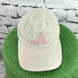 Adidas Girls One Sz Hat Beige Pink Adjustable Baseball Cap 100% Cotton Flaw