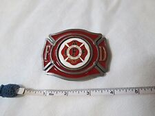 Fire fighters belt buckle RARE International association Hard hat red enamel FD