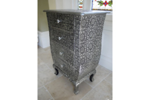 Embossed 4 Drawer Chest Of Drawers Vintage Shabby Chic Bedroom Unit Furniture