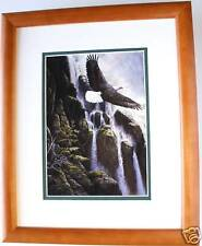Spring Cascade by Persis Clayton Weirs Waterfall Eagle Double Mat 8x10 Framed