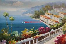 """20x24""""(41x61cm)hand painted oil flat .Mediterranean/Ocean/Beach Scape/Seascape"""