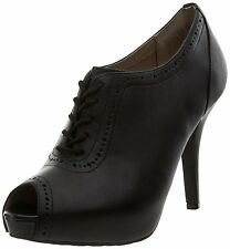 Rockport UK 3 Sasha Black Leather Brogue Shootie Victorian Style Peep Toe Boots