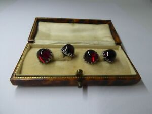 Stylish Vintage Art Deco Red Glass Cabochon Cufflinks 1920/30's Boxed