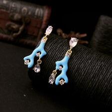 earrings Nails Golden Branch Coral Enamel Blue Pendant AA 15