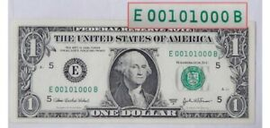 $ 1 Bill USA  EXTREMELY RARE Highly Collectible Binary serial # -E 00101000 B