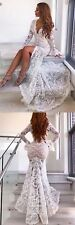 Women Sexy Deep V-neck Long Sleeve White Lace Mermaid Wedding Front Slit Dresses