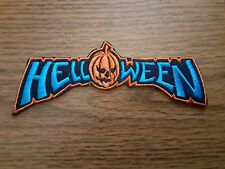HELLOWEEN,IRON ON BLUE AND ORANGE WITH ORANGE EDGE EMBROIDERED PATCH
