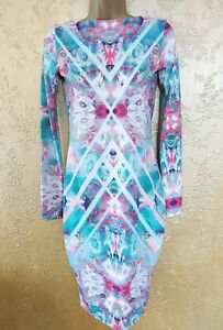 Ladies Dress Size 8 *NEW* with Tags Long Sleeve Multicoloured Low Back ASOS