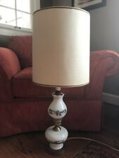 Vintage Currier and Ives Electrical Tall Table Hurricane  Lamp W/ 3 Way Switch