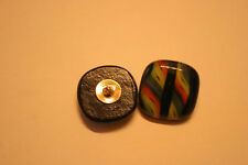 Handmade candystriped glass button