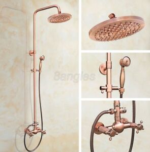 Antique Red Copper Bathroom Wall Mount Rain Shower Faucet Set Mixer Tap 8rg523