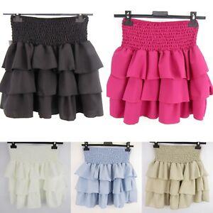gonna gonnellina balze elastico corta minigonna skirt