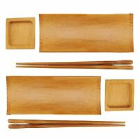 Carbonized Brown Bamboo Sushi Serving Tray Set - 2 Sets