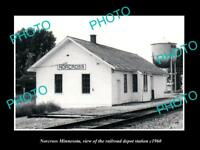OLD LARGE HISTORIC PHOTO OF NORCROSS MINNESOTA, THE RAILROAD STATION c1960