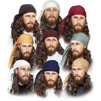 Adult Men's Pirate Women Red White Black Cosplay Costume Bandanna Headscarf