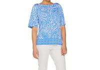A287671 Susan Graver Printed Liquid Knit Split Sleeve ORANGE/WHITE Top XS-679