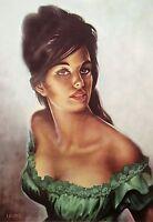 Tina in Green Dress J H Lynch Tretchikoff Era - Vintage Kitsch Art Print Size A2