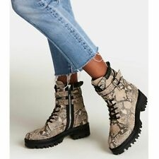 Dolce Vita Womens Palin 9 Ivory Gray Black Snake Leather Lace Up Combat Boot