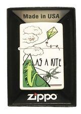 "Zippo Custom Weed Marijuana Pot Leaf Lighter - ""High As A Kite"" White Matte"