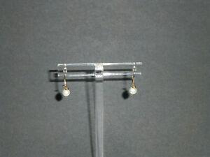Vintage 14K Solid Gold Pearl Dangle Earrings