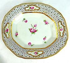 ANTIQUE PORCELAIN CANTED CORNER DISH PLATE DISH PAINTED WITH ROSES CHELSEA DERBY