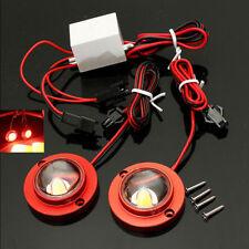 Car 2 LED Strobe Warning Light Emergency Flash Red 12V 10W + Controller