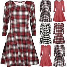 New Womens Ladies Long Sleeve Scoop Neck Flared Tartan Check Skater Swing Dress
