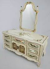 Vintage French Provincial Hand Painted Jewelry Armoire Dresser W/ Mirror Musical