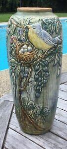 Weller Pottery Baluster Vase Glendale Bird And Nest Exc. W / Sticker McLaughlin