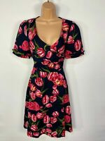 WOMENS DOLLY & DOTTY UK10 NAVY FLORAL 5O'S VINTAGE ROCKABILLY WRAP FLARE DRESS