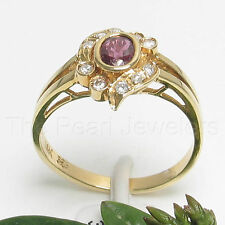 14k Yellow Solid Gold Genuine Natural Red Ruby & Diamond Cocktail Ring -TPJ
