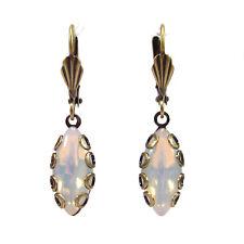 SoHo® Ohrhänger vintage bohemia navette white opal böhmische Glassteine Ohrringe