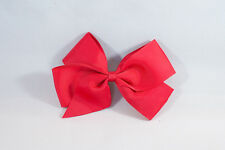 Unit of 10 Large 4 Inch Red Hair Bows on Medium French Barrette Clips Grosgrain