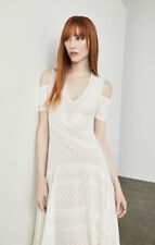 $228New Women's BCBG Odette Asymmetrical Cold-Shoulder Dress SZ M Gardenia