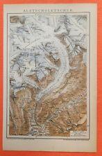 Aletschgletscher  Fieschertal Schweiz Alpen  historische Landkarte 1897 map
