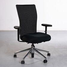 Vitra T-Chair Schreibtischstuhl, schwarz, gestreift, Fuß Chrom, gebraucht