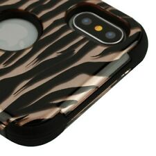 FOR APPLE IPHONE XS X ROSE GOLD ZEBRA TUFF SHOCKPROOF 3-PIECE RUBBER CASE COVER
