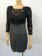 APRIORI Designer Kleid Dress Gr.36 I42 USA6 Wollrock Tatoospitze Schwarz Grau