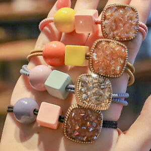 Fashion Instagram Cube Crystal Elastic Hair Ties Rope Band Ring Ponytail Rope